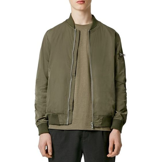 Topman Bomber Jacket ($100) ❤ liked on Polyvore featuring men's fashion, men's clothing, men's outerwear, men's jackets, mid green, mens green jacket and mens green bomber jacket