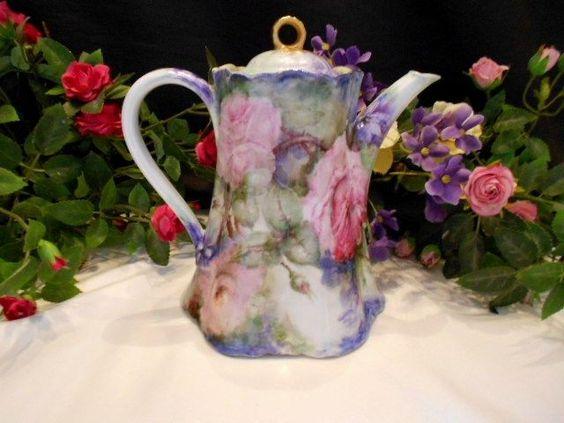 Superb Hutschenreuther/Haviland Chocolate Pot; Romantic Roses & Violets