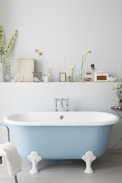 A built in shelf - an interesting/clean way to give a stand alone bath the storage space you need for toiletries.