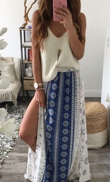 All about patterned maxi skirts with slits.  No slits makes me feel ultra conservative.
