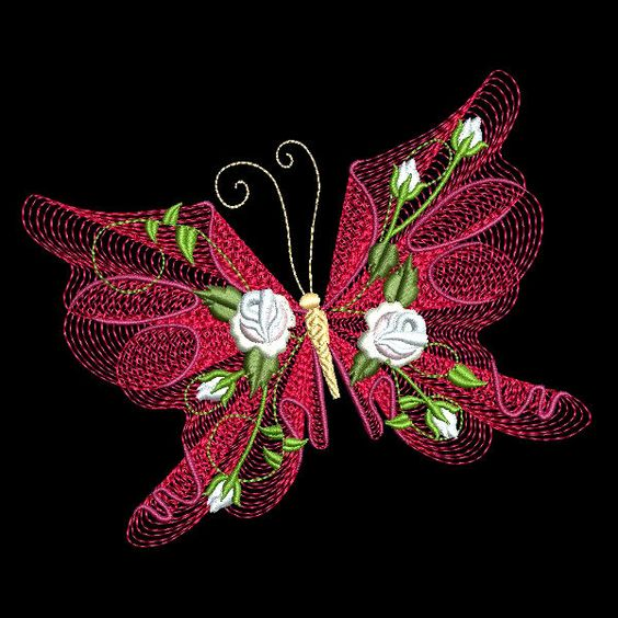FLUTTERBY LUV #1 - 30 MACHINE EMBROIDERY DESIGNS (AZEB)