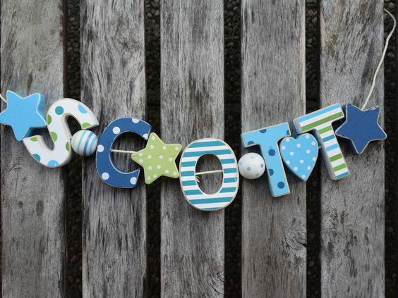SCOTT  WOODEN LETTER NAME DECORATION PERSONALISED SHABBY CHIC BABY NURSERY