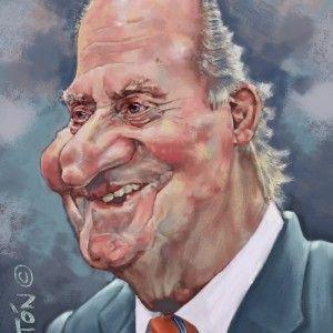 Caricatura de famosos: Rey emerito Juan-Carlos I. Caricatura Digital.