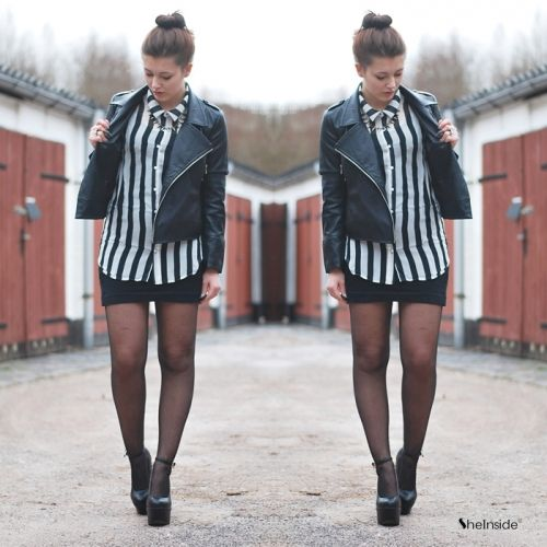Black white vertical stripe sleeveless chiffon blouse sheinside com