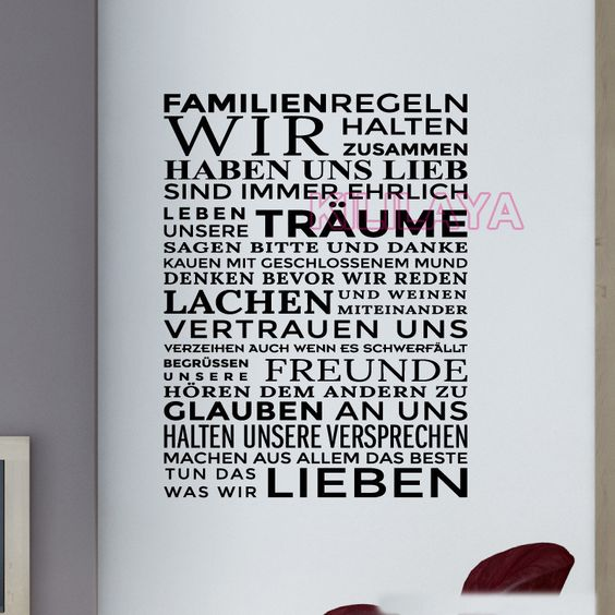Aliexpress.com : Buy Sticker German Familienregeln Vinyl Wall Stickers Wall Decals Wallpaper for Living Room Wall Art Home Decor House Decoration from Reliable wallpaper frames suppliers on Kililaya