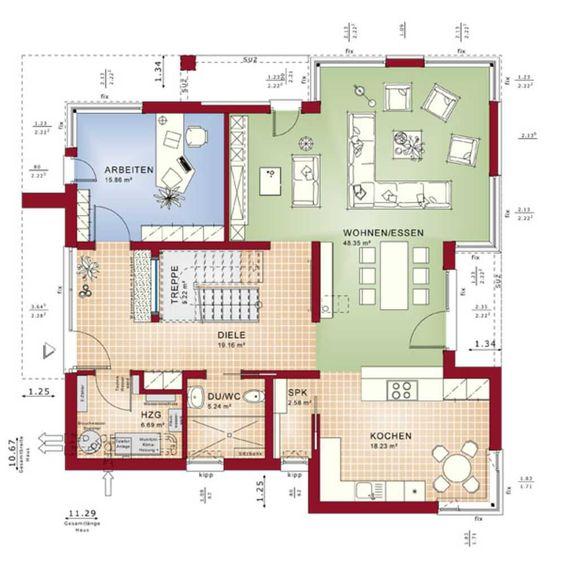 Bien Zenker - Fertighaus - Concept-M we can Pinterest House - küche mit kochinsel grundriss