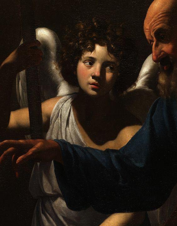 Simon Vouet (1590-1649)- Saint Peter Visiting Saint Agatha in Prison (Detail)- Oil on canvas-  1624 #art