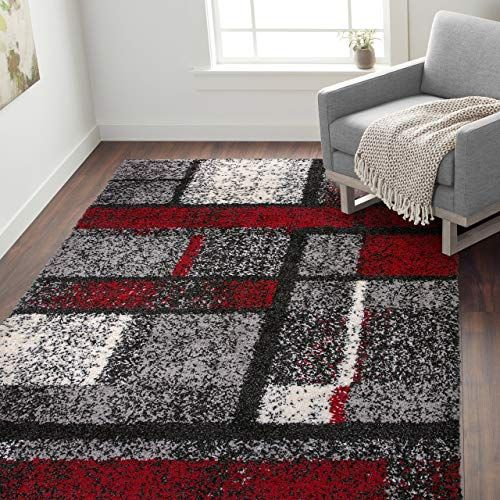 Great For Rugshop Cozy Shag Contemporary Geometric Boxes Area Rug 7 10 X 10 Red Home Decor 149 98 Chicideas From To Area Rugs Geometric Box Grey Area Rug