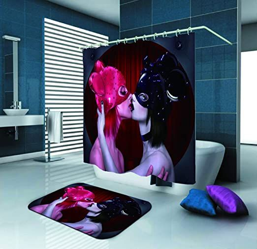 Sara Nell Shower Curtain Lesbian Kiss 72x72in Polyester Fabric