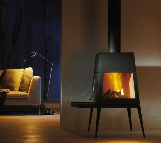 The black steel Wittus Shaker Wood Stove, designed by Antonio Citterio, is made in Germany of black steel. Offering the look of a fireplace with the efficiency of a wood stove, it is available with a short bench under the door (as shown) or with a long bench, so you can sit comfortably close to the fire; $4,860 and $5,430 respectively.