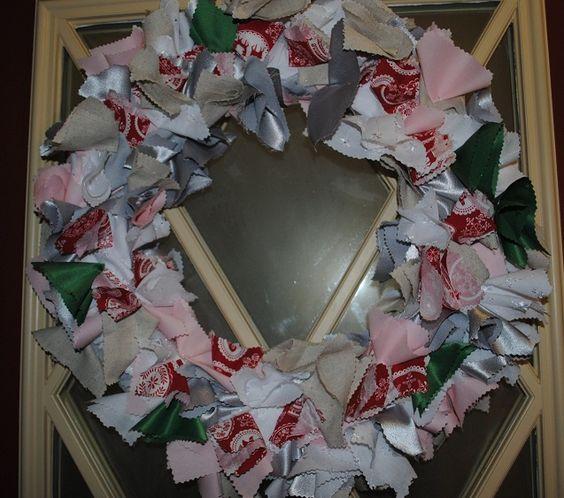 Fabric Christmas wreath hand made by my grand-kids.