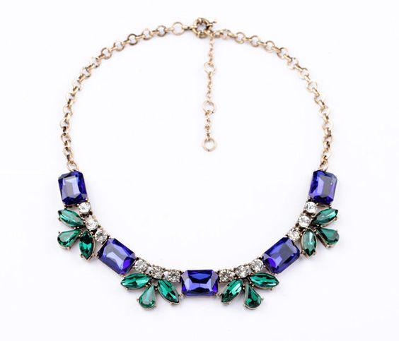 2014 New design lady fashion multi blue color crystal statement bib necklace gif #Statement