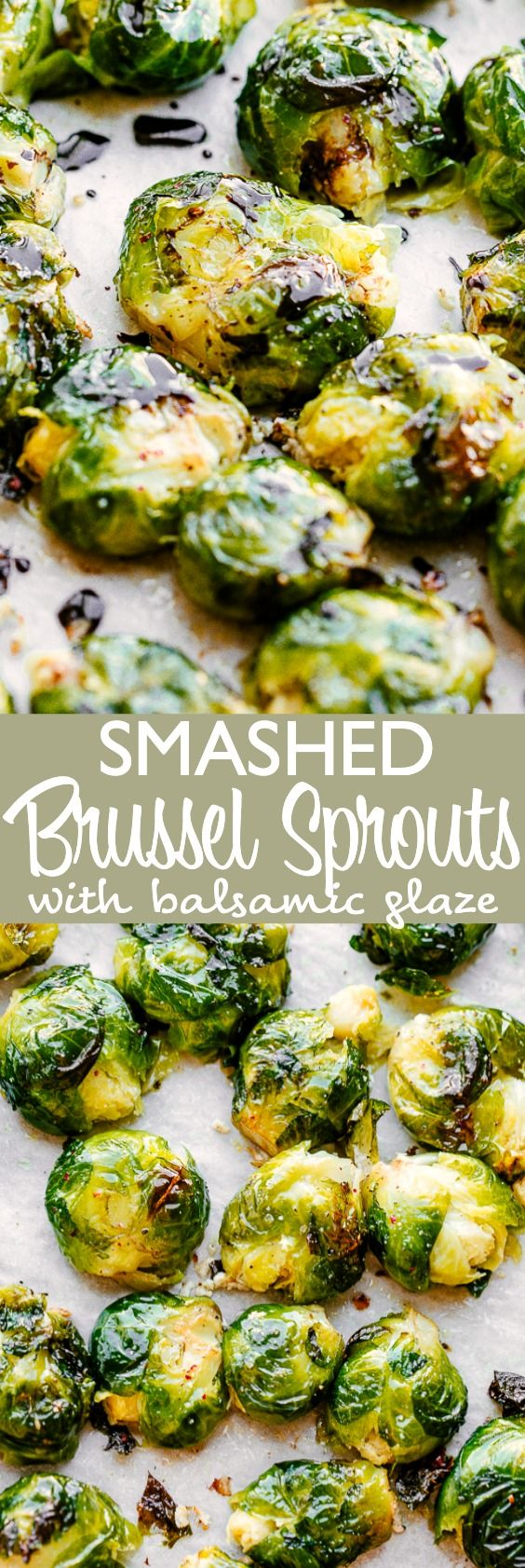 Smashed Brussel Sprouts with Balsamic Glaze - Crunchy, sweet, and delicious Brussel Sprouts drizzled with a flavorful Balsamic glaze! This recipe for crispy Smashed Brussel Sprouts is the perfect addition to your table for a festive dinner. #brusselsprouts #sidedish #thanksgiving