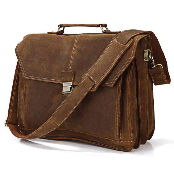 "Vintage Handmade Genuine Crazy Horse Leather Briefcase / 17"" MacBook Pro or 16"" Laptop Bag"