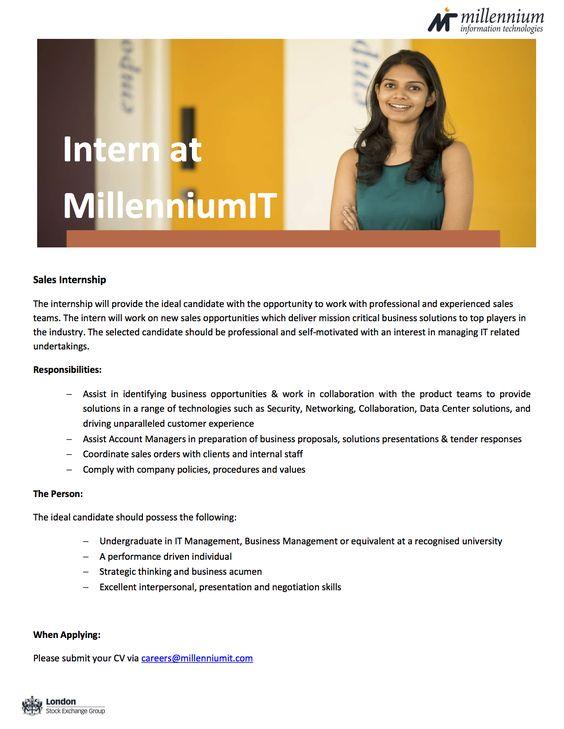 Sales Intern At Millenniumit  Career First  Marketing Jobs