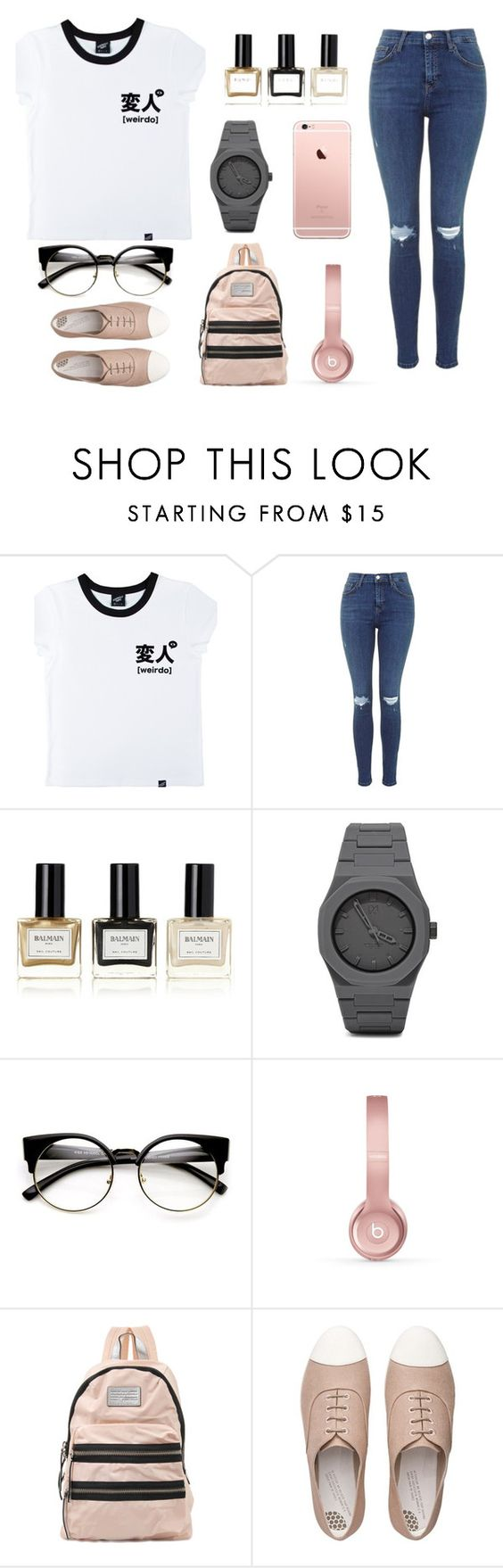 """""""weirdo"""" by megatron800 ❤ liked on Polyvore featuring Illustrated People, Balmain, CC, Beats by Dr. Dre, Marc by Marc Jacobs and FitFlop"""