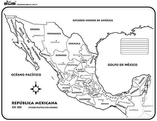 Pin De Lucisantiago En Actividades Republica Mexicana Con Nombres Mapa Mexico Con Nombres Republica Mexicana
