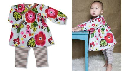 Kimono Dress & Pants... Nice set consisting of a floral kimono dress and matching striped trousers.