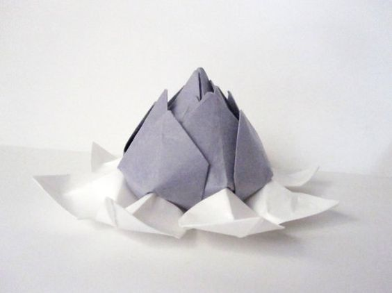 Lotus Blossom Origami -- Light Purple or Plum and White