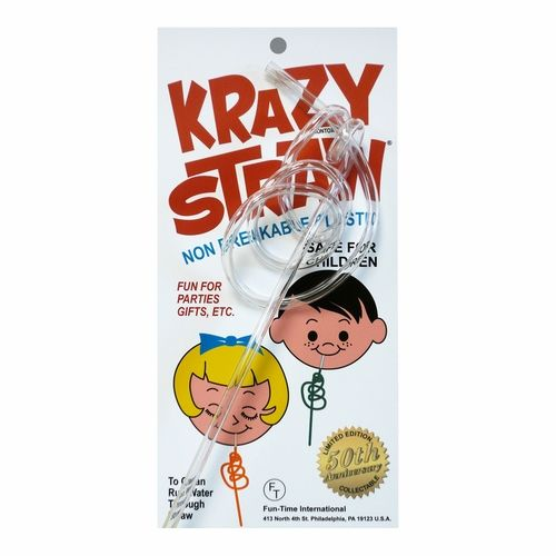 "Based on the very first Krazy straw, this crazy straw is even in the original wrapping.  The Krazy straw is clear and approximately 11"" long."