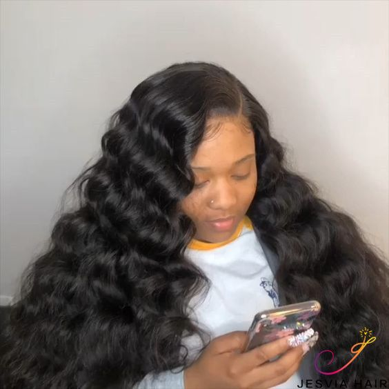 Jesvia Hair Brazilian Hair Loose Deep Wave 3 Bundles With 1 Lace Closure Lbw44 Deep Wave Hairstyles Natural Human Hair Extensions Loose Hairstyles