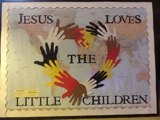 Church Bulletin Board - Jesus Loves the Little Children