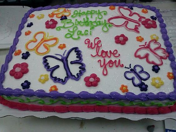 Sheet Cake With Flowers And Butterflies Cake Decorating