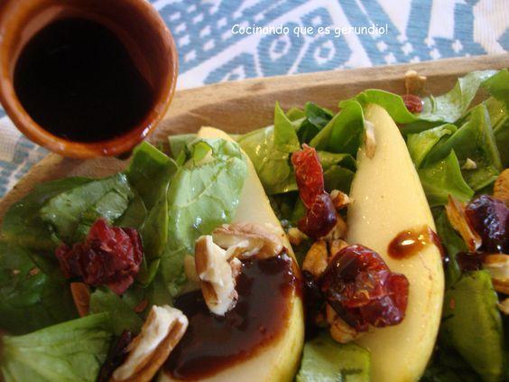 Ensalada de pera con balsámico de choclate
