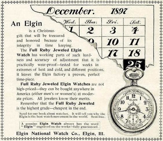 vintage watch magazine advertisement, antique Elgin pocketwatch, free vintage watch clipart, old watch graphic, black and white watch clip art