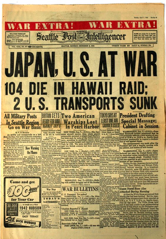 Japan, U.S. AT WAR...104 Die in Hawaii Raid: 2 U.S. Transports Sunk