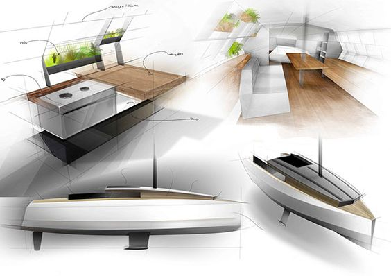 A concept yacht with plants placed on the interior of the boat, an interesting way to bring plant life and natural objects into the design.