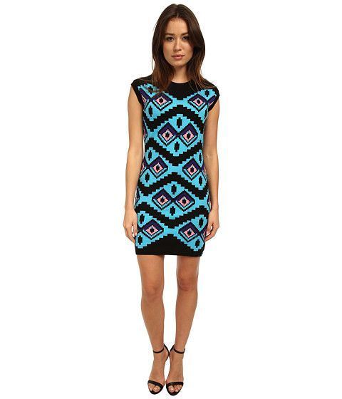 LOVE Moschino Geometric Print Cap Sleeve Dress