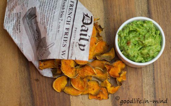 Süßkartoffelchips und Guacomole - goodlife.in-mind.de