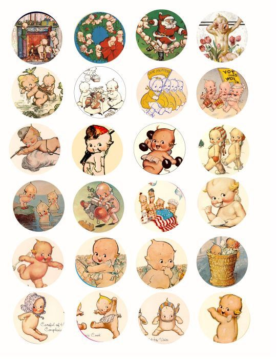 Vintage Kewpie baby doll clip art Collage sheet 1.5 INCH circles ...