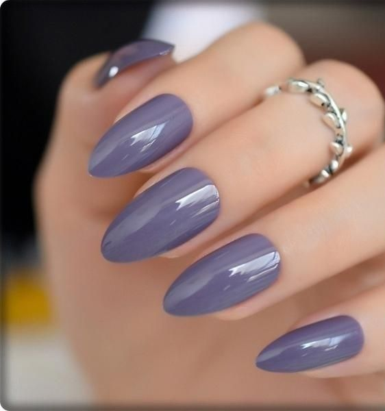 People Buy Gifts To Each Other On February 14 Each Year Today We Have Prepared 19 Almond Nail Models For You To Lo In 2020 Purple Nails Oval Nails Oval Acrylic Nails