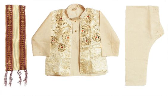 Bead Work and Saffron Stone Studded Light Peach Sleeveless Jacket with Kurta Pyjama and Maroon with Beige Net Chunni (Art Silk)