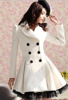 White Cashmere Double Breasted Coat: