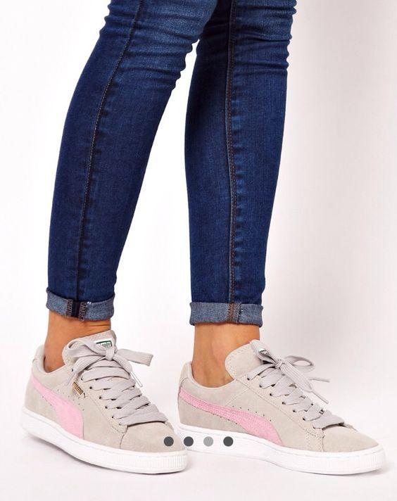 suede grey pink shoes pumas