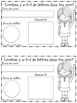 GRATUIT - les élèves écrivent leurs noms et comptent le nombre de lettres…: