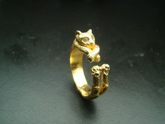 14k  Gold Very Unique  Cat ring with diamond eyes by Xidni on Etsy