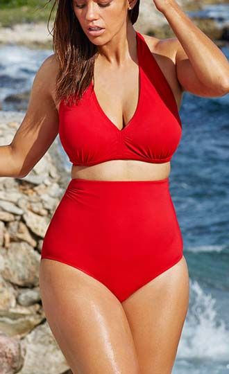Solid Color Sexy V-Neck High Waist Bikini Plus Size