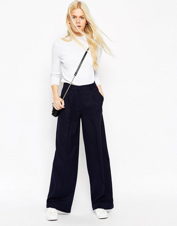 Image 1 ofASOS Wide Leg Trousers in Soft Touch
