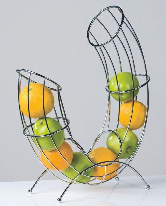 designer-obstkorb früchtekorb obstschale pipe aus metall silber