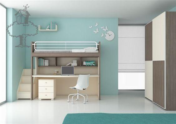 Hoogslaper nardi stapelbed halfhoogslaper compactbed de boomhut kidsroom kinderkamer - Stapelbed kleine kamer ...