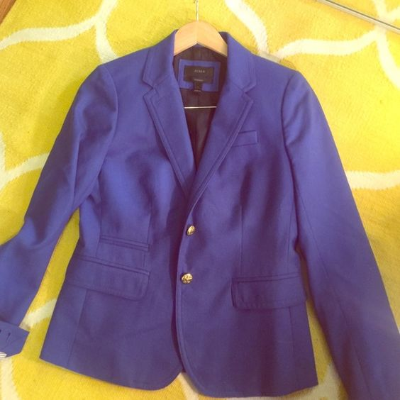 J. Crew schoolboy blazer Beautiful cobalt blue blazer, barely worn, in perfect condition. Gold buttons, and striped lining in sleeves. J. Crew Jackets & Coats Blazers