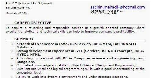 Resume Format 6 Months Experience Resume Templates Resume Format Resume Software Software Engineer