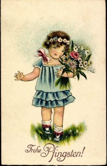 Ak Frohe Pfingsten, Mädchen in blauem Kleid, Blumenstrauß   eBay ...
