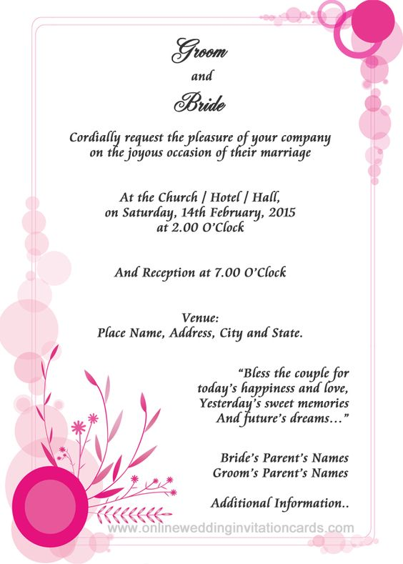 Wedding Invitations Wording Samples From Bride And Groom In
