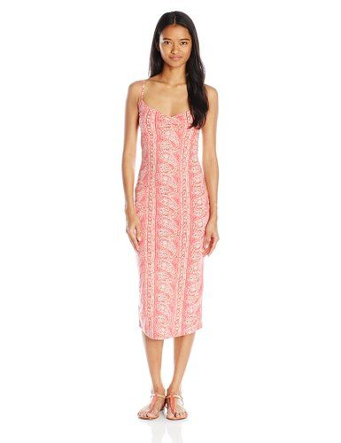 Billabong Junior's Right Around Midi Dress with Cut-Out Back, Wild Berry, X-Small
