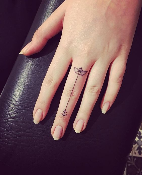Paper boat & anchor minimalistic finger tattoo by Eva.  http://tattooideas247.com/paper-boat-finger/